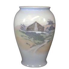 Royal Copenhagen Porcelain Vase With Rebild Cottage