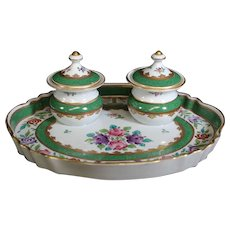 Porcelaine de Paris Double Inkwells on Matching Tray