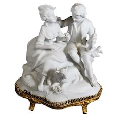 Romantic Couple with Sheep in White Bisque