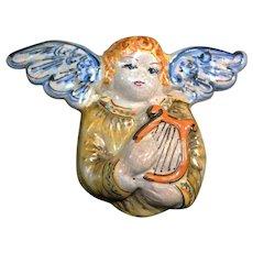 Sicilian Caltagirone Holy Cherub with Harp Statuary
