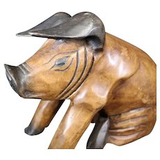 Wooden Pig Sculpture from Closed Butcher Shop