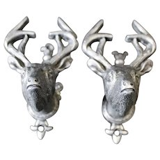 Pair of Silvered Metal Stags Head Cabinet or Door Handles
