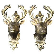 Pair of Bronze Stags Head Cabinet or Door Handles