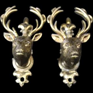 Pair of Bronze Stags Head Cabinet or Door Handles
