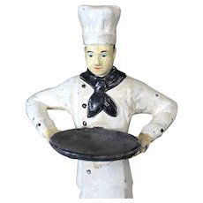 Vintage Cast Iron Figurine of Chef with Tray