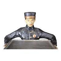 Vintage Cast Iron Figurine of Uniformed Bell Boy & Tray