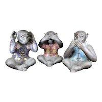 Trio of Cloisonné Monkeys - Hear No Evil, See No Evil & Say No Evil