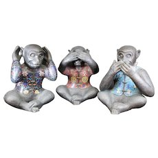 Trio of Cloisonné Monkeys - Hear No Evil, See No Evil & Say No Evil