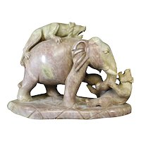 Statue of a Pair of Lions Attacking an Elephant