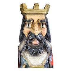 Medieval Regal King Figurine Wooden Wine Box