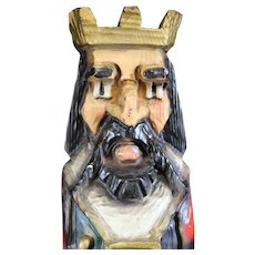 Medieval Regal King Figurine Wooden Wine Box