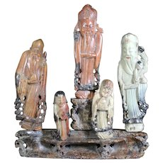 Five Carved Soapstone Old Oriental Gods on a Pedestal