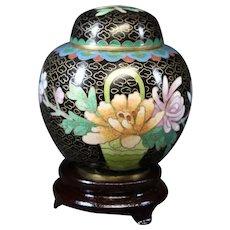 Small Floral and Black Covered Cloisonné Vase - Cloisonne