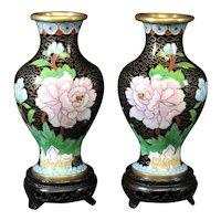 Matching Pair of Floral and Black Cloisonné Vases - Cloisonne