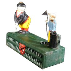 Golfer and Caddy Themed Cast Iron Piggy Bank - Money Bank