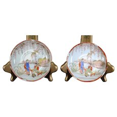 Pair of Small Japanese Dishes with Geisha Images