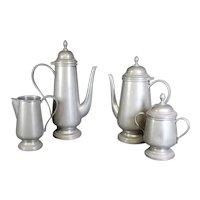 Coffee & Tea Art Deco Pewter Four Piece Set