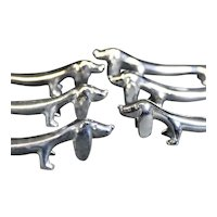 Set of Six Silver Plated Humorous Doggie Knife Rests