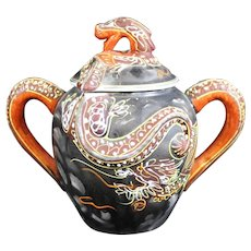 Ornate Chinese Double Handled Dragon Covered Pot or Bowl
