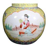 Double Paneled Famille Jaune Covered Porcelain Ginger Jar