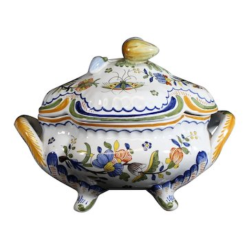 Rouen Style Decorated Geo Martel French Covered Bowl or Tureen