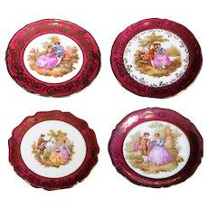 Limoges Miniature Porcelain Fragonard Plates - Set of Four