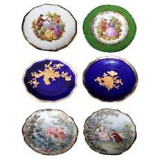 Limoges Miniature Porcelain Fragonard Plates - Set of Six