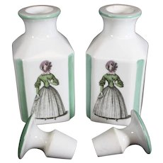Pair of Decorated Perfume, Cologne or Dresser Bottles