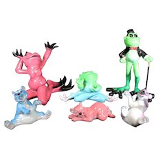 Collection of Six Humorous Kitty Cantrell Figurines