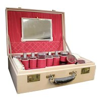 Pigskin Ladies Beauty Vanity Case With Full Crystal & Silver Contents