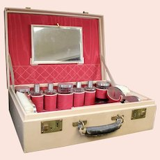 Pigskin Ladies Beauty Case With Full Crystal & Silver Contents