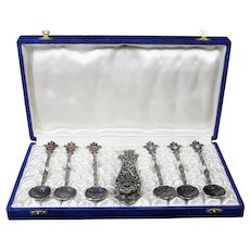 Highly Decorated Set of Islamic Style Spoons and Clip