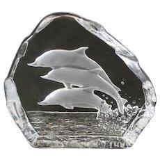 Swedish Nybro Crystal Trio of  Dolphin Paperweight