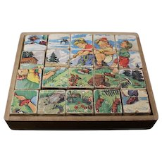 Child's Six Sided Block Puzzle in Lidded Box