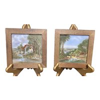 Pair of Framed Mosa  Country Scenes Decorative Tiles