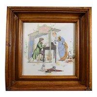 Sarreguemines French Framed Decorative Tile - Document Writer