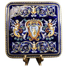 Gien Classic Putti Raised Tablet or Trivet in Stunning Blue