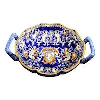 Gien Renaissance Low Handled Bowl of Cherubs & Putti