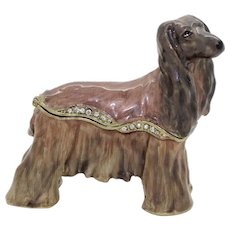 BeJeweled Afghan Hound Trinket or Dresser Box