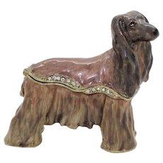 BeJeweled Afghan Hound Trinket or Dresser Box