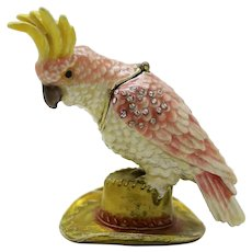 BeJeweled Cockatoo Bird Sitting on a Hat Trinket or Dresser Box