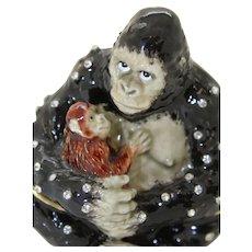 BeJeweled Gorilla & Baby Trinket or Dresser Box