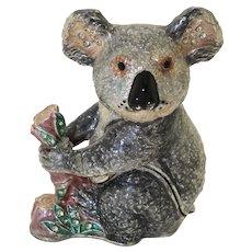BeJeweled Quizzical Koala on a Tree Stump Trinket or Dresser Box
