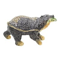 BeJeweled Wild Bear with Caught Salmon Trinket or Dresser Box