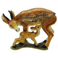 BeJeweled Mother Deer & Baby Doe Trinket or Dresser Box