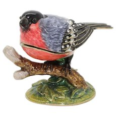 BeJeweled Red Breasted Bird Trinket or Dresser Box