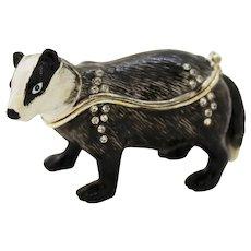 BeJeweled Black & White Attentive Badger Trinket or Dresser Box