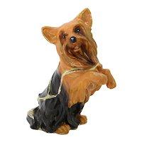 BeJeweled Brown Standing Yorkshire Terrier Dog Trinket or Dresser Box