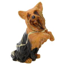 BeJeweled Brown Standing Yorkshire Terrier Dog Trinket or Dresser Box