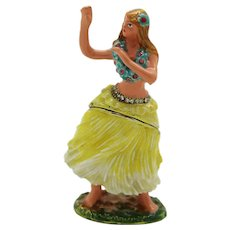 BeJeweled Hawaiian Hula Dancer in Yellow Skirt Trinket or Dresser Box